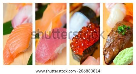 An assortment of nigiri sushi - stock photo