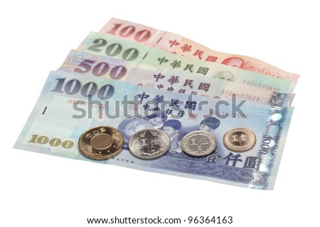 An assortment of Taiwanese bills and coins. - stock photo