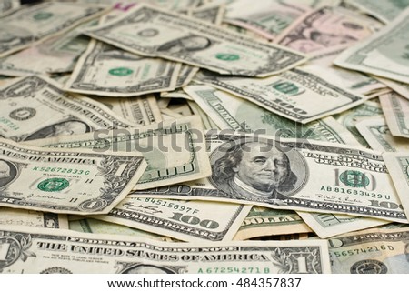 An assortment of united states paper money