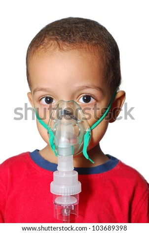 An Asthmatic Child and Nebulizer - stock photo