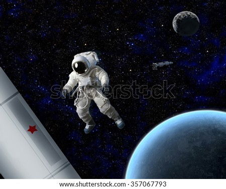 An astronaut floating in space near planet and ship.