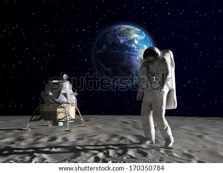 An astronaut on the surface of the Moon - stock photo