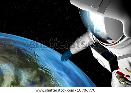 An atsronaut gazes down at the earth from high above the atmosphere in space