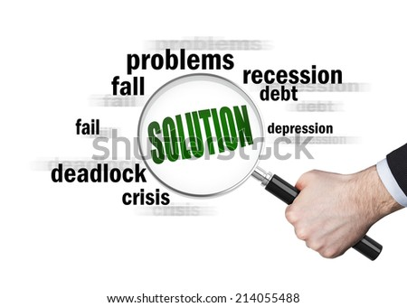 An attempt to find an appropriate solution. - stock photo