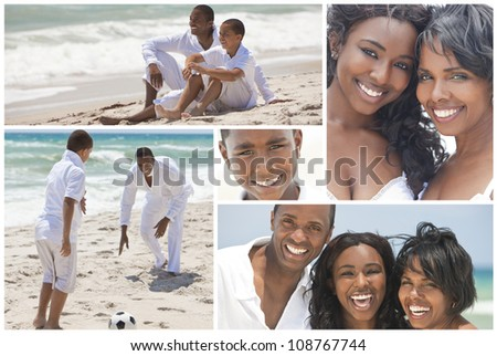 An attractive African American family of mother, father, two sons and daughter outside active at the beach having fun in summer sunshine, playing, smiling, laughing - stock photo
