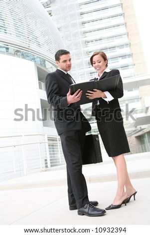 An attractive business team meeting at company - stock photo