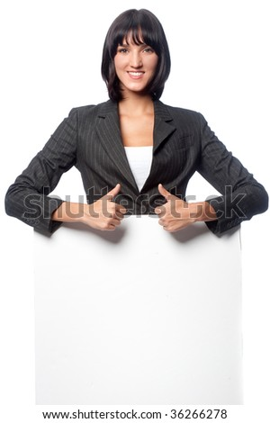 An attractive caucasian businesswoman with a blank card on white background