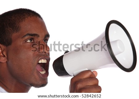 An attractive dark-skinned man using a megaphone. All on white background. - stock photo
