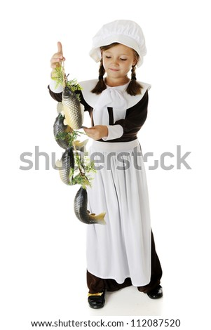 An attractive elementary Pilgrim girl admiring a string of fish, a likely food served at the first Thanksgiving.   On a white background. - stock photo