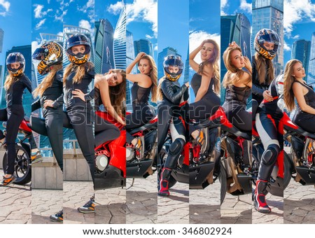 An attractive girl on a motorbike posing outside. Collage. - stock photo
