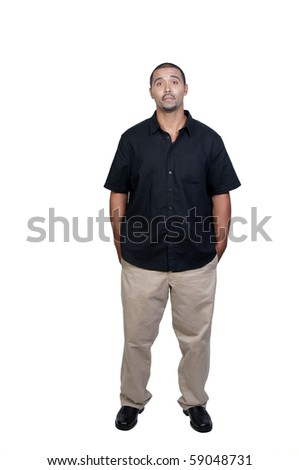 An attractive handsome African American man standing