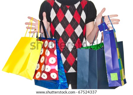An attractive lady out shopping. bags with purchases. isolated on white background - stock photo
