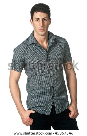 An attractive man standing against white background