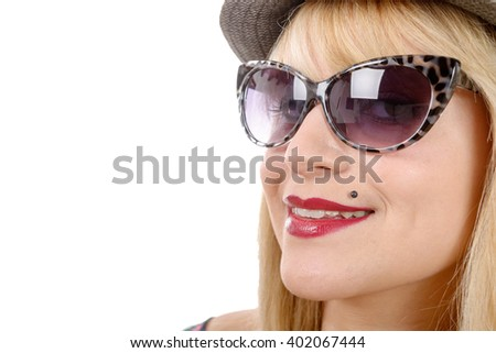 an attractive woman with glasses in white background