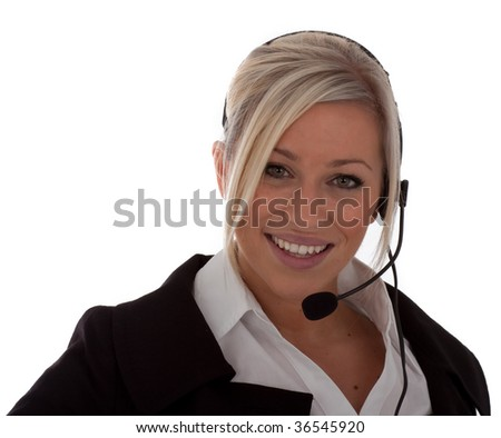 An attractive young blonde call center operates isolated onto a white background