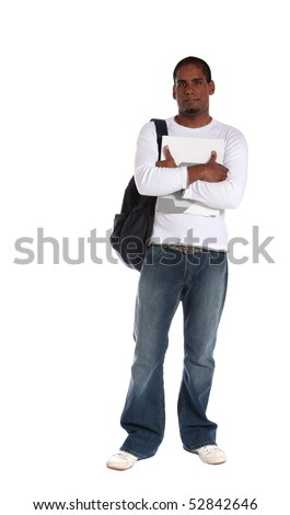 An attractive young student standing in front of a plain white background.