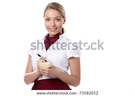 An attractive young waitress on a white background