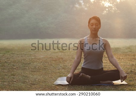 An attractive young woman doing yoga - stock photo