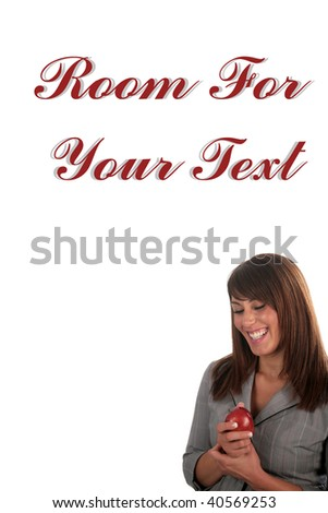 an attractive young woman enjoys a red apple, isolated on white, with room for your text - stock photo