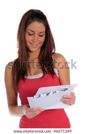 An attractive young woman gets good news via mail. All isolated on white background