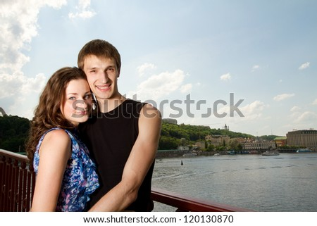 An attractive young woman her handsome boyfriend - stock photo
