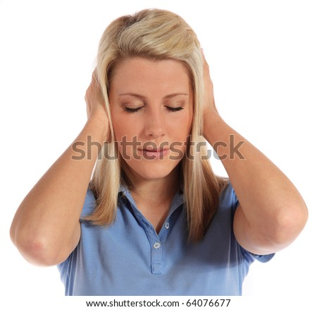An attractive young woman suffering from tinnitus. All on white background.