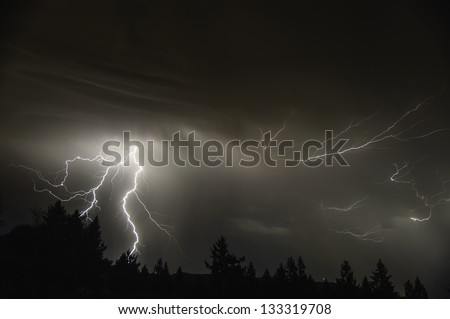 An August Thunderstorm In the Mid Willamette Valley - stock photo