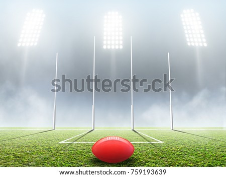 An aussie rules football stadium with a ball and goal posts in the nighttime under illuminated floodlights - 3D render