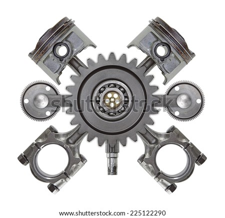 An automotive crest made up of random engine parts. - stock photo