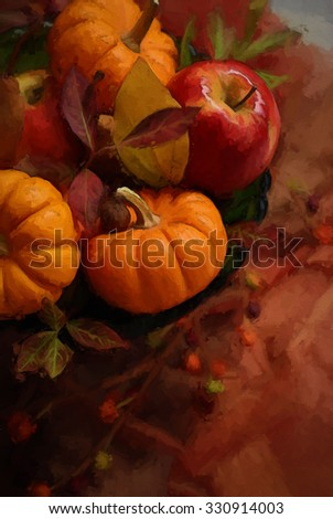 An autumn centerpiece with pumpkins, apples, and leaves turned into a colorful harvest painting