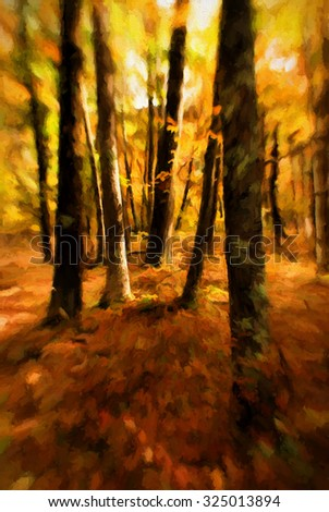 An autumn scene of the woods in the Poconos of Pennsylvania, turned into a colorful painting - stock photo
