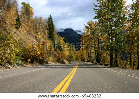 An autumn view of the Going-to-the-Sun highway in Glacier National Park