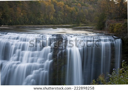 An autumn waterfall at Letchworth State Park. - stock photo