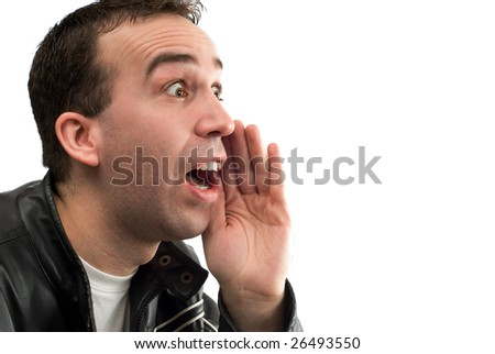An avid fan is cheering for his team, isolated against a white background - stock photo