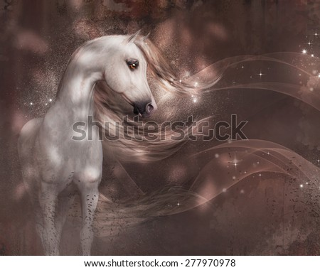 An beautiful Arabian horse with waving mane and tail in an abstract warm background. - stock photo
