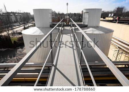 an beer processing and storage metal silos - stock photo