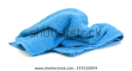 an blue beach towel on a white background  - stock photo