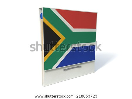 An closeup of an open book of matches made with wood decorated in the south african national flag and brown tips on an isolated background