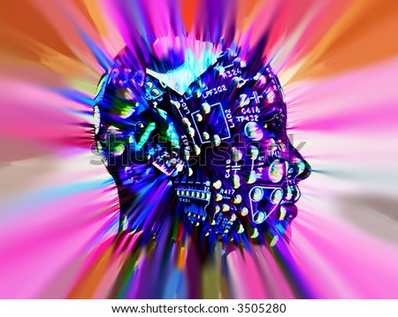 An conceptual image of a android person who is very clever, we can tell this by the added circuitbored effect. - stock photo