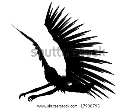 An 3D rendered angel silhouette with unfolded wings on white background. Fourtyfive degrees view.