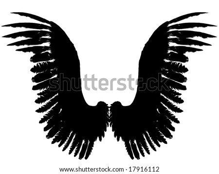 An 3D rendered angel wings silhouette on white background. Front view.