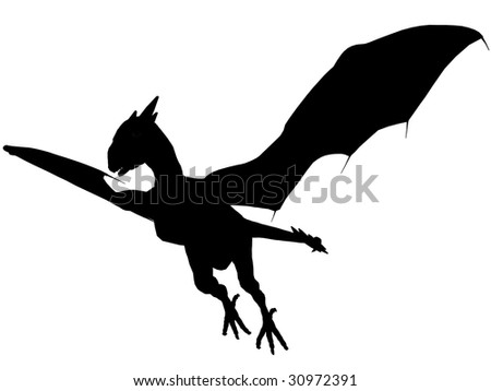 An 3D rendered dragon silhouette with unfolded wings on white background.