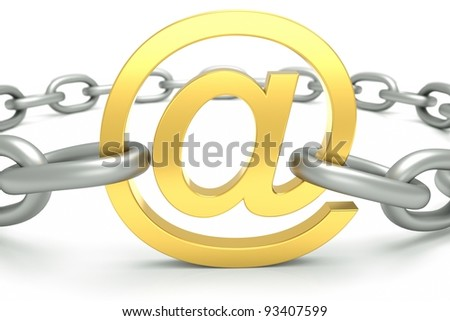 an e-mail sign with chain isolated on white
