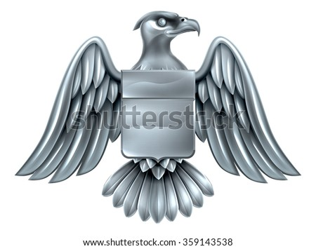 An eagle silver metal shield heraldic heraldry coat of arms design. - stock photo