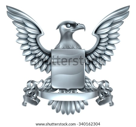An eagle silver metal shield heraldic heraldry coat of arms design with a banner scroll. - stock photo