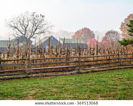 An early morning foggy view of the historic Longstreet farm in Holmdel Park in New Jersey. - stock photo