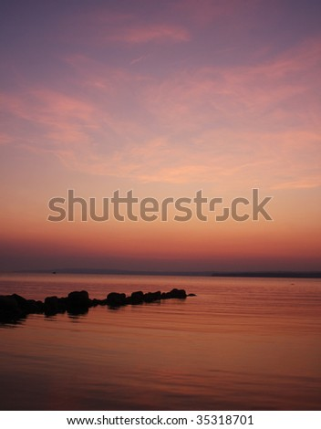 an early morning sunrise over Georgian Bay near Owen Sound Ontario