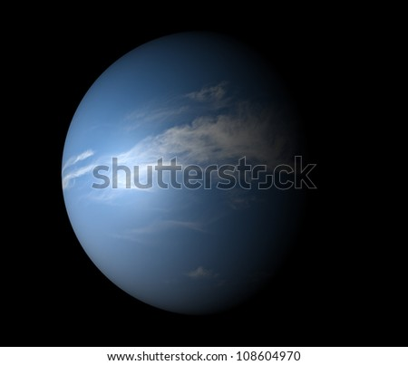 An Earth-like planet beyond our solar system. Isolated on black. 3D render. - stock photo
