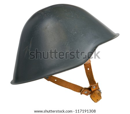 An East German M56 helmet. The M56 was originally designed in 1942 as a replacement for the M1935 and M1940 Stahlhelms. - stock photo