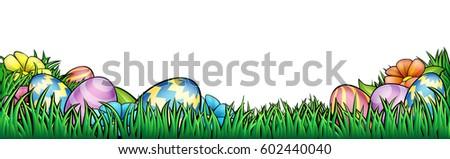 an easter egg hunt background border frame or footer graphic